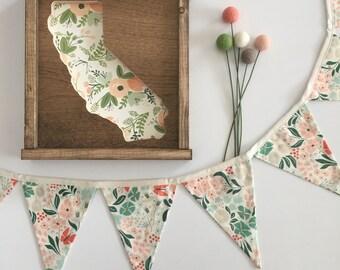 Floral Banner. Coral, Mint, Pink, Jade Floral Bunting Banner. Pink, Coral, Mint, Jade Floral Fabric Pennant Banner. Coral, Mint Garland.