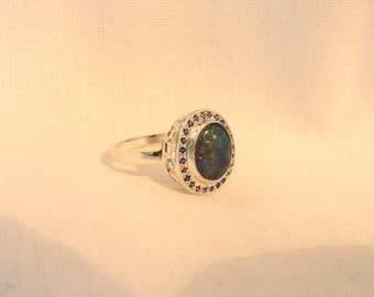 925 Sterling Silver Opal Doublet Ring