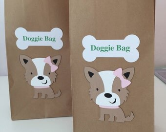 Puppy Gift Bags/Puppy Party/Goody Bags/Treat Bags/ Brown Kraft Bags/ Puppy Birthday Supplies/Custom Party Supplies/Party Favor Bags