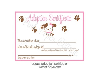 Puppy Adoption Certificates/ Digital File/ Instant Download/ Print at home/ Pink Puppy Party