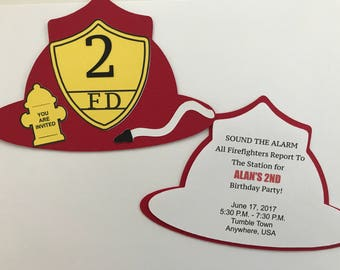 Fire Hat Invitations/ Red Hat/ Custom Fireman Invitations/ Fireman Party, Firefighter Birthday Invitations/ Party Invites