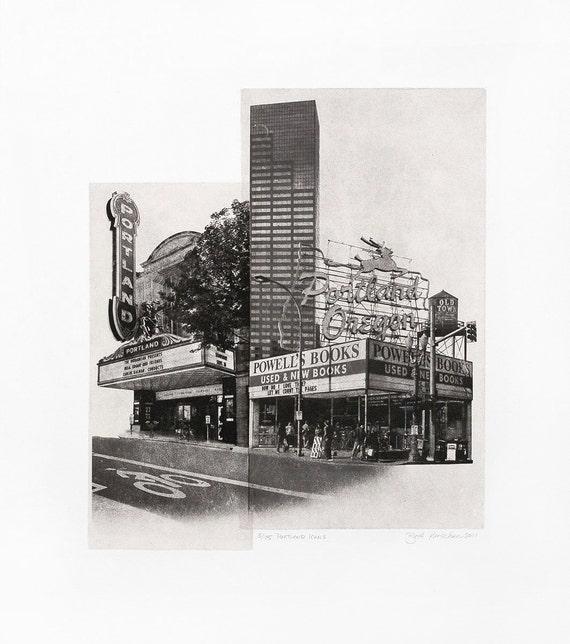 Portland Fine Art - Original Art - Photographic Etching - Art Print - Photography - Oregon - Photogravure - Photo Collage - Icons