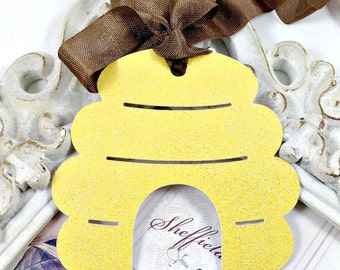Glitter Beehive Gift Tags (6) Bee Party Favor Tags-Winnie the Pooh Tags-Bee Baby Shower-Honey Favor Tag-Beehive Decoration-Bee Birthday Tags