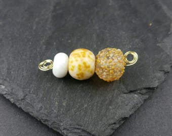 Apricot mini lampwork bead set