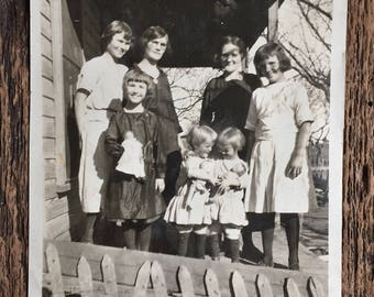 Original Vintage Photograph The Brown Girls with Mother