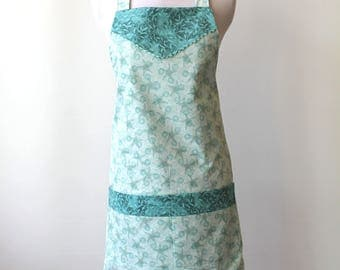 Fully Lined Boho Coastal Starfish Sand Dollar floral Cotton Apron with two pockets - Susan Winget fabric design