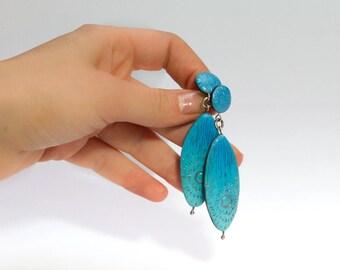 long oval dangle earrings,  tiffany blue drop earrings, turquoise blue earrings, casual jewelry, silver post earrings, gift for women