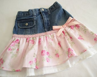 Girl's Skirt, Little Girl's Denim and Roses Layered Up Cycled Skirt Size 18 months