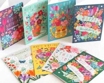Occasion Card Pack of 8 - Birthday Card Set - Congratulations Card - Celebration Cards - Greeting Cards - Happy Birthday - Floral Cards