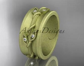 14kt yellow gold diamond engagement ring, matte finish wedding band ADLR417B