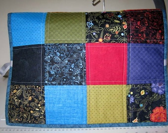 Patchwork Sewing Machine Dust Cover Blue Lining,  Embroidery Machine Cover Protector, Appliance Dust Cover