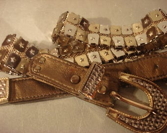 Boho 1990s Vintage Rhinestone Embellished Goldwashed Gold and Silver Belt