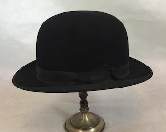 1920s 1930s black felt bowler hat sz 8