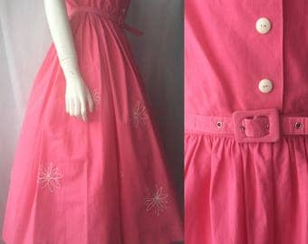 1950s fuschia pink cotton sundress