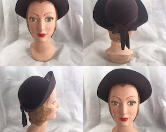 1930s felt off face hat