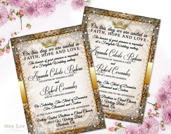 Fairytale Wedding Invitation Suite Romantic Wedding Invitation Fairy Tale Wedding  Invite In Ornate Gold Royal Wedding Printable Invites DIY