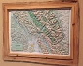 RESERVED - Glacier National Park Relief Map, framed with rustic live edge