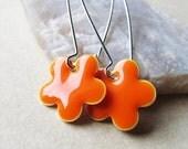 20% off sale Dangle Drop Earrings - Tangerine Orange Epoxy Enamel Flowers - Sterling Silver Plated over Brass (F-2)