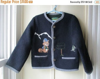 ON SALE Boy's Vintage Italian Wool Sweater / Coelweik Sweater / Vintage Navy Blue Wool Blend Sweater / Size XS / 3T to 4
