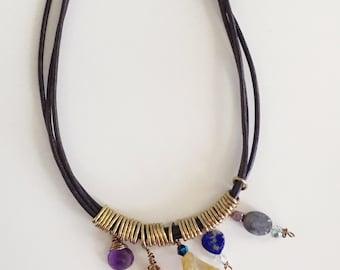 Semi Precious Stone Leather Necklace, Beaded Necklace, Multi Colored Stone Necklace