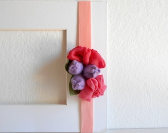 Baby elastic headbands with little tulips, felt leaves and soil flowers