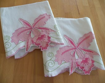 Gorgeous Pair of Vintage Appliqued Cotton Pillowcases with Cutwork and Embroidery