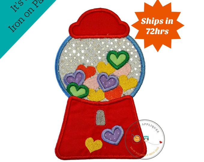 Candy heart bubblegum machine, Valintine's day emboridered iron on applique, pre-made ready to ship, DIY, Holiday, Love