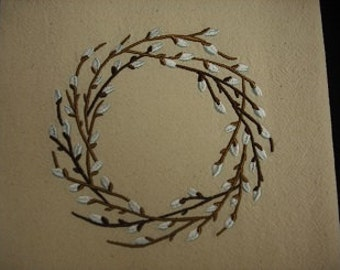 Pussy willow wreath natural flour sack towel. Machine embroidered.