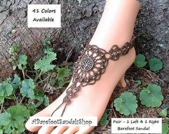 BROWN Barefoot Sandals Tree of Life Ankle to Toe Bohemian Hippie Foot Jewelry Beach Wedding Anklet Shoes SIZED Women's Body Jewelry