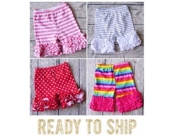 SALE Ruffle shorts, polka dot ruffle shorts, rainbow ruffle shorts, disney shorts, Minnie Mouse ruffle shorts, girl ruffle shorts