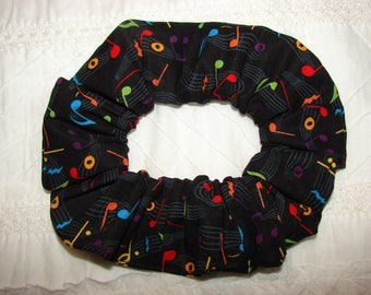 Colorful Musical Notes Black fabric hair scunchie, woman's scrunchies, musical musician gift, hair accessories, womens gifts, gift for her