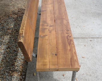 """Custom qty Two 5 ft Bench with rectangular legs with qty Two 20""""x 20""""x 18"""" Matching tables with rectangular legs"""