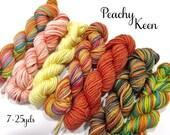 Peachy Keen - Sock yarn mini skeins, 25 yds each, 175 yds total