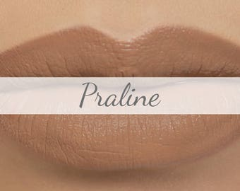 "Vegan Matte Lipstick Sample - ""Praline"" (nude tan brown natural lipstick with opaque coverage)"