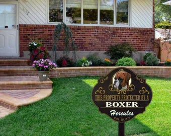 Personalized Protected by Boxer sign