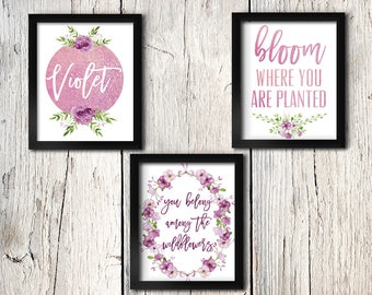 3 Custom Nursery Posters, Printable, Instant Download, Purple Flowers