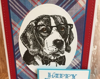 father's day dog card, father's day card, happy father's day card, dog card, dog dad card, dapper dog card, nerdy dog card, preppy dog card