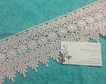 Silver Venise lace, 1 yard of 4 inch Metallic Silver Venise lace trim for wedding, bridal, jewelry, couture by MarlenesAttic - Item CC11
