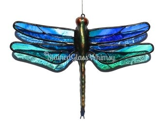 Stained Glass DRAGONFLY Suncatcher - Wispy Cobalt Blues & Greens on Clear; Textured; USA Handmade, Blue Green Dragonfly, Blue Firefly