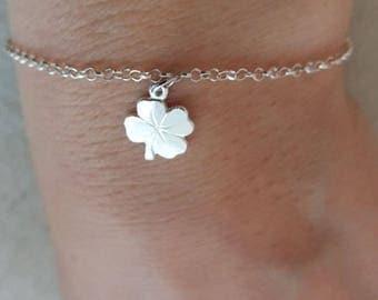Clover Bracelet, Sterling Silver Bracelet, Silver Clover, St Patrick Day Jewelry, Sterling Silver Irish Shamrock Pendant