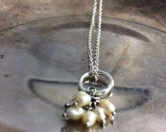 Pearl Charm Necklace Freshwater Pearl Necklace White Pearl Necklace White Pearl Dangle Pearl Charms Pearl Charm Pendant Pearl Pendants
