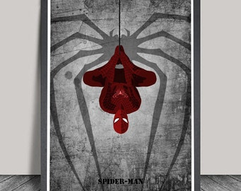 Spiderman Print.Superhero Minimalist.Avanger.poster,Heroes Illustrations,Wall art,Artwork,DC comics poster,Gift,Gift for him,Christmas Gift