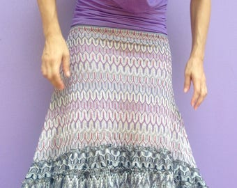 hi lo skirt, stretch-knit skirt, ruffled hem, tribal, festival wear, ceremonial skirt, ruffled skirt, purple grey pastels, knit-wear, lace