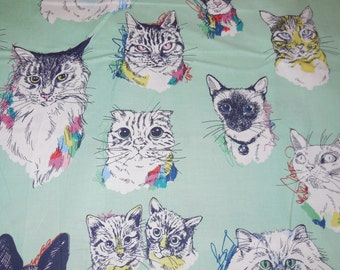Meow Wow Wow / Sea Glass Color - Alexander Henry Fabric 1 Yard