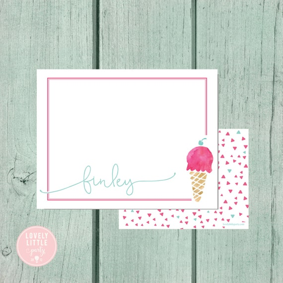 Ice Cream Stationery, Kids Stationery, Ice Cream Personalized Notecards, notecards, Girls Birthday Gift, Girls Gift - Lovely Little Party