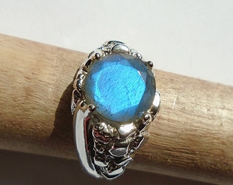 Labradorite Sterling Silver Nugget Style Ring Size 10 WAS 80.00 On Sale 75.00