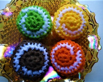 Pot Scrubbers Scrubbies Set of 4 Nylon Net Stuffed Puffy Assorted Colors Handmade Crochet