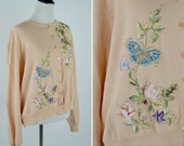 Vintage 1980's Peach Beaded Embroidered Sweater Cardigan - Shabby Chic Romantic Mori Girl Sweater - ladies size medium to large