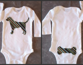Pick your DOG!  Baby boy long-sleeved custom bodysuit with dog breed of your choice