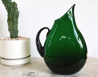 Vintage Blenko Winslow Anderson 967 PItcher Emerald Mid Century
